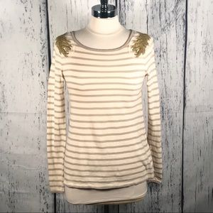 Banana Republic beige and cream long sleeve shirt